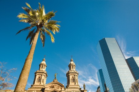 Plaza de Armas (main square) with the Metropolitan Cathedral, Santiago, Chile, South America