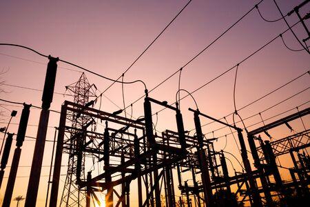 Power lines at Santiago de Chile Archivio Fotografico