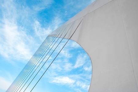 mujer: Cables system of Puente De La Mujer (Bridge Of The Women) designed by Santiago Calatrava Buenos Aires Argentina
