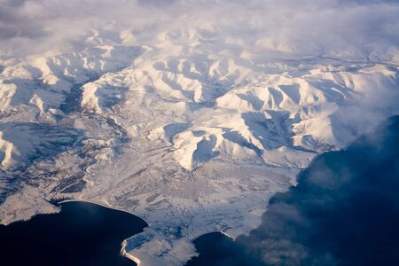 Aerial view of frozen land in the North Pole Stock Photo