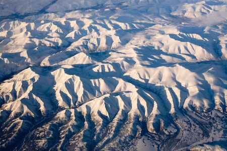 Aerial view of frozen mountains in the North Pole