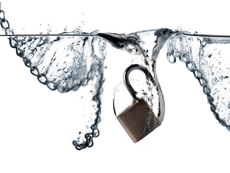 padlock and chains falling into water photo