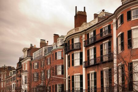 Facades of traditional houses at Beacon Hill, Boston, Massachusetts, USA Stock Photo