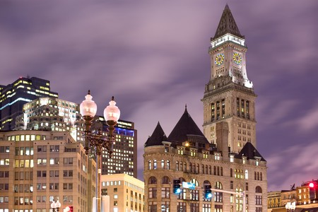 Night view of the Quincy Market area with the Customs House tower clock, Boston, Massachusetts, USA