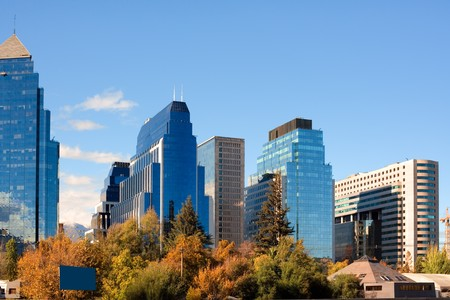 Skyline of Santiago de Chile new and modern business center  Archivio Fotografico
