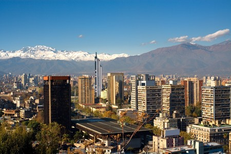 View of Santiago de Chile toward the east part of the city, in a clear day after the rain.  View from Santa Lucia hill in the historic center  of the city. Stock Photo - 7546555