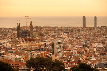 Panoramic view of Barcelona with La Sagrada Familia church design by Antoni Gaudi, Spain, Europe
