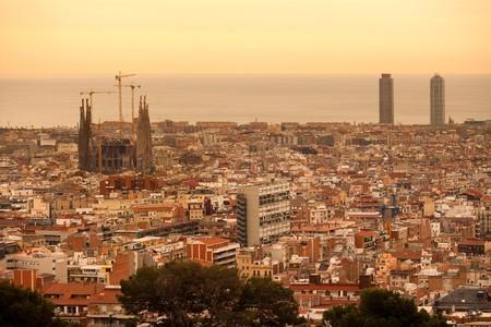 Panoramic view of Barcelona with La Sagrada Familia church design by Antoni Gaudi, Spain, Europe