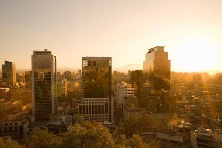 Downtown view at sunset from Santa Lucia Hill, Santiago, Chile, South America Stock Photo