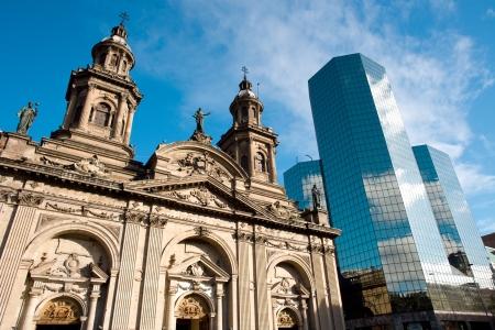Metropolitan Cathedral, Plaza de Armas (Main Square), Santiago de Chile Stock Photo