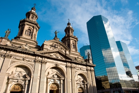 Metropolitan Cathedral, Plaza de Armas (Main Square), Santiago de Chile Stock Photo