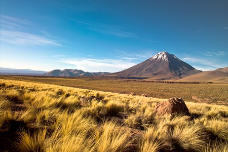 Licancabur volcano in the Atacama desert, Chile Stock Photo