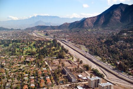 Aerial view of Santiago and Mapocho River, Santiago, Chile, South America photo