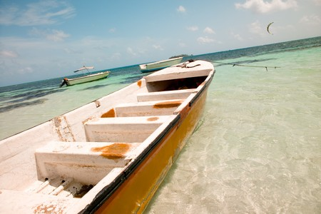 Boats anchored in the main beach of San Andres Island, Colombia