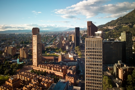 Panoramic view of the financial district of Bogota, Colombia Stock Photo