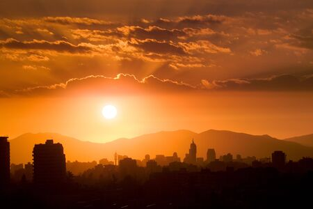 Sunset over Santiago de Chile, South America
