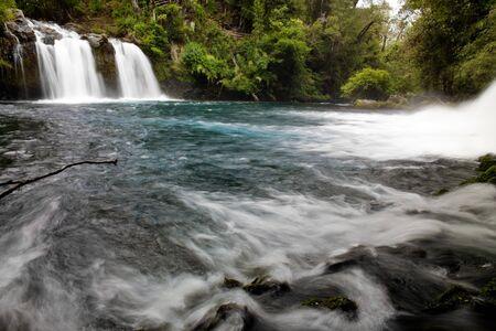 Waterfall named Ojos del Carburga, Araucania district, Southern Chile Archivio Fotografico