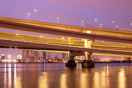 honshu: Access to Rainbow Bridge, Odaiba, Tokyo, Kanto Region, Honshu, Japan Stock Photo