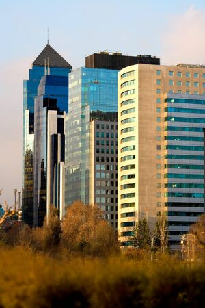 World trade center Santiago and others modern corporate buildings. Santiago de Chile  photo