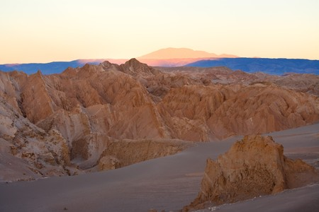 Salt formations at Valle de la Luna (spanish for Moon Valley), also know as ÒCordillera de la SalÓ (spanish for Salt Mountain Range) at sunrise, Los Flamencos National Reserve, San Pedro de Atacama, Atacama desert, Antofagasta Region, Chile, South Ameri
