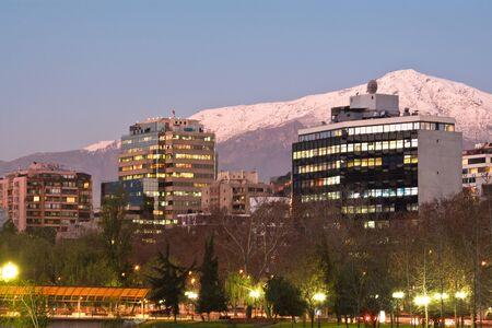 Skyline of Providencia district with the Andes mountain range in the background, Santiago de Chile  photo