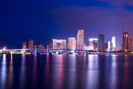 City skyline behind the access to port facilities, downtown, Miami, Florida, United States