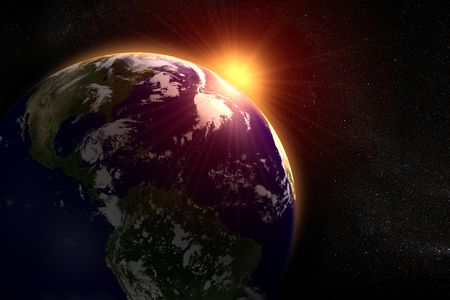 Ruimte landschap van de zon stijgt achter de aarde  Stockfoto