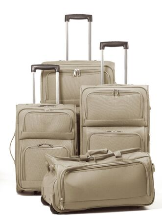 Suitcases against a white background