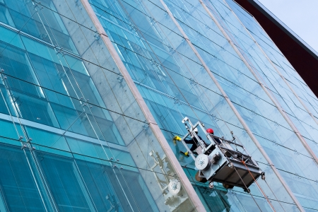 window cleaning: Window cleaners Stock Photo