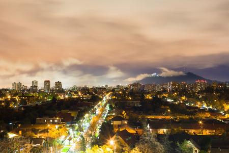 residential neighborhood: Night view of Santiago de Chile at Las Condes district