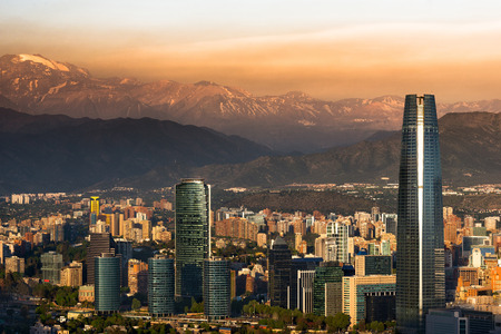 View of Santiago de Chile with Los Andes mountain range in the back Stock Photo