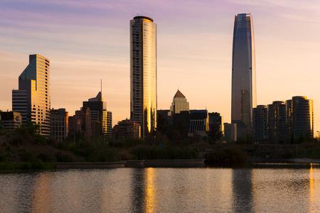 Skyline of buildings at Las Condes district, Santiago de Chile Archivio Fotografico