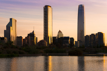 Skyline of buildings at Las Condes district, Santiago de Chile Stock Photo