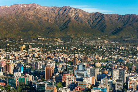 santiago: Panoramic view of Santiago de Chile and Los Andes mountain range