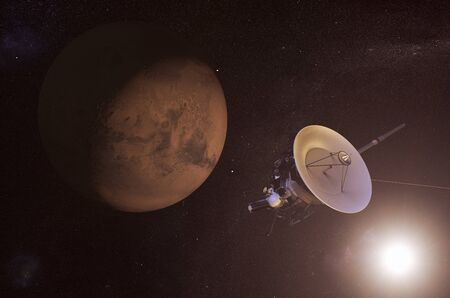 unmanned: Digital illustration of an unmanned spacecraft approaching Mars Stock Photo