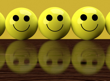 toothy smile: Happy yellow faces with reflection