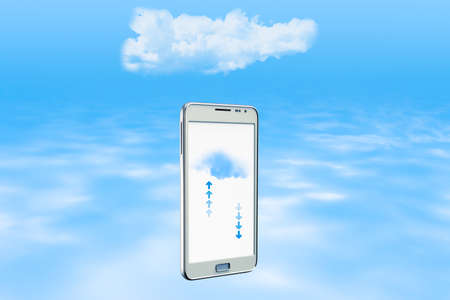backing up: Smartphone backing up information on the cloud