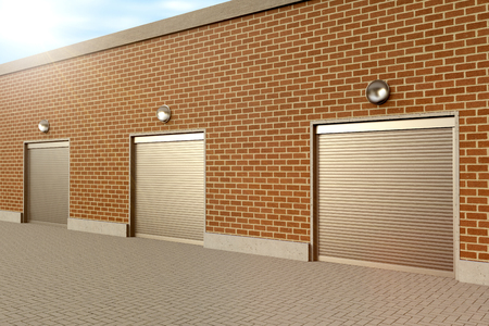 building industry: Closed roller doors at business