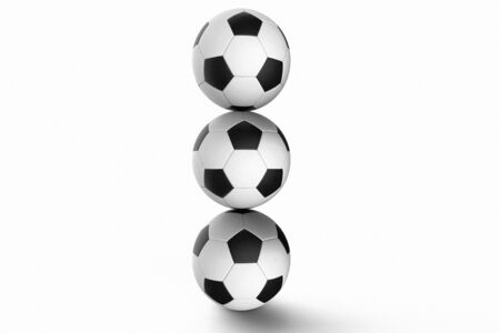 balance ball: Stack of Soccer balls against a white background