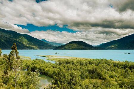 estuary: View of the Reloncavi Estuary, Chile Stock Photo