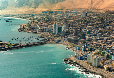 Aerial view of downtown Iquique in the Atacama Desert, Chile
