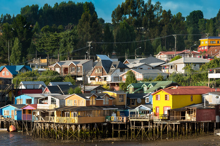 stilts: Traditional stilts houses known as palafitos in Castro, Chiloe island, Chile