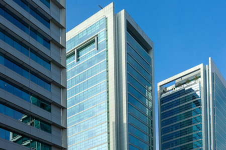 office buildings: Modern buildings at the wealthy neighborhood Isidora Goyenechea, Santiago de Chile