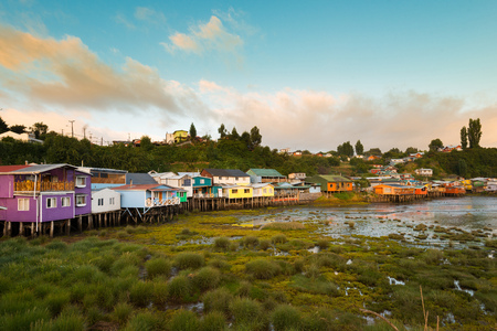 colonnade: Traditional stilts houses known as palafitos in Castro, Chiloe island, Chile