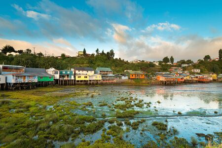 pile dwelling: Traditional stilts houses known as palafitos in Castro, Chiloe island, Chile