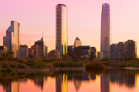 Skyline of buildings at Las Condes district, Santiago de Chile Stock Photo