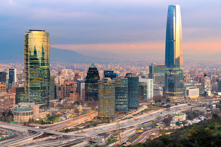 traffic lights: Skyline of Santiago de Chile with modern office buildings at financial district in Las Condes.