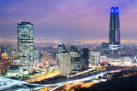 Skyline of Santiago de Chile with modern office buildings at financial district in Las Condes.