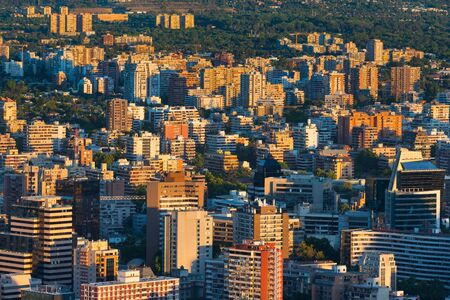 chilean: View of buildings at Providencia district, the most dense part of the city with residential and office buildings, Santiago de Chile
