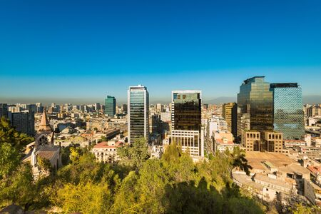 Skyline of downtown Santiago de Chile Stock Photo